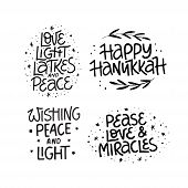 Hanukkah Black Vector Lettering Set. Traditional Jewish Holiday Phrases Collection. Love, Light, Lat poster