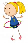 stock photo of hulahoop  - Cartoon of an active kid - JPG