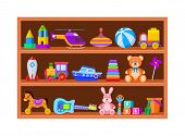 Kid Toys On Shelves. Children Toy On Wooden Shop Shelf In Playroom. Cartoon Ball And Train, Whirligi poster