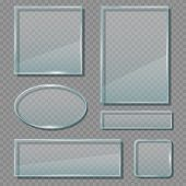Glass Panels. Acrylic Transparent Reflective Frames Geometrical Empty Shapes Vector Banners Template poster