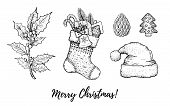 Christmas Hand Drawn Doodle Icon Set. Merry Xmas, Happy New Year Symbols, Retro Sketch Style. Cute S poster