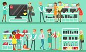 People Shopping In A Mall Set, Men And Women Choosing And Buying Electronics And Household Appliance poster