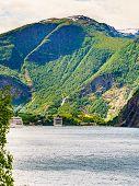Cruise Ships On Fjord Aurlandsfjord In Norwegian Tourist Destination Flam. Travel Destination. poster