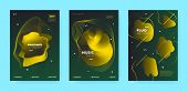 Gradient Flow Shapes. Night Party Template. Vip Music Invitation. Dj Poster. Gold 3d Movement Banner poster