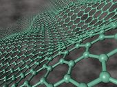 picture of graphene  - 3d render of flexible green graphene layer on dark cloudy background - JPG
