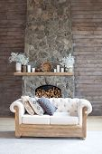 Cosy Living Room With Eco Decor . Wood And Nature Concept In Interior Of Room. Scandinavian Interior poster