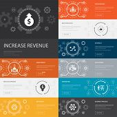 Increase Revenue Infographic 10 Line Icons Banners. Raise Prices, Reduce Expenses, Best Practices, S poster