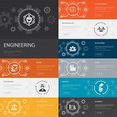 Engineering Infographic 10 Line Icons Banners. Design, Professional, System Control, Infrastructure  poster