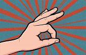 Hand Gesture Ok Comic Book Pop Art Isolated. Like Positive Gesture. Sketch Cartoon Retro Good Symbol poster