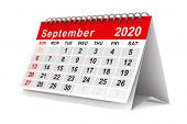 2020 year. Calendar for September. Isolated 3D illustration poster