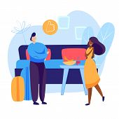 Tourists Checking Into Hotel Room. Luggage, Suitcase, Double Bed. Business Concept. Vector Illustrat poster