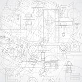 foto of mechanical drawing  - Abstract industrial gray and white background - JPG