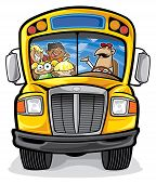 foto of bus driver  - School Bus cartoon with school children and bus driver - JPG