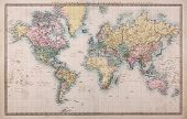 Original old hand coloured map of the World on Mercators projection circa 1860,the countries are nam