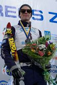 BUKOVEL, UKRAINE - FEBRUARY 23: Dylan Ferguson, USA take second place place in aerial skiing during