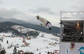 BUKOVEL, UKRAINE - FEBRUARY 23: David Morris, Australia performs aerial skiing during Freestyle Ski
