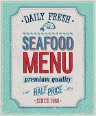 Vintage SeaFood Poster. Vector illustration.