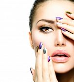 stock photo of long nails  - Beautiful Fashion Girl - JPG