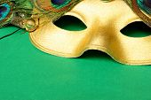 pic of mardi-gras  - carnival mask with green background - JPG