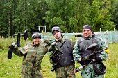 foto of shooting-range  - Paintball players in full gear at the shooting range - JPG