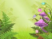picture of fairy-mushroom  - Magic landscape with mushrooms and flowers - JPG