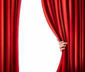 stock photo of cinema auditorium  - Background with red velvet curtain - JPG