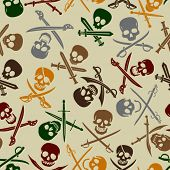 stock photo of crossed swords  - Pirate Skulls with Crossed Swords Seamless Pattern - JPG
