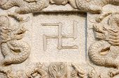 picture of swastika  - Buddhist swastika close up part of the Buddhist temple