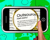 Outsource Definition On Smartphone Showing Freelance Jobs