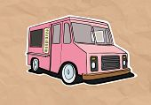 foto of ice-cream truck  - ice cream truck illustration on old paper - JPG