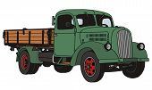 stock photo of hand truck  - hand drawing of old green lorry truck - JPG