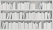 bookcase with white books, 3d render