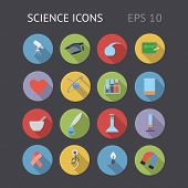 stock photo of inkpot  - Flat icons for science and education - JPG