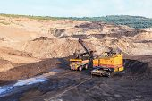 stock photo of power-shovel  - Truck and Electric Shovel in Mae Mo Mine THAILAND - JPG