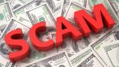 image of cheating  - Word Scam on the background of one hundred dollar bills - JPG