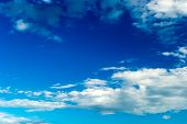 picture of stratus  - Blue sky with stratus clouds in spring day - JPG