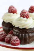 stock photo of confectioners  - Chocolate cupcakes decorated with fresh cream raspberries and a dusting of icing sugar - JPG