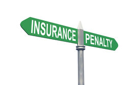 stock photo of mandate  - 3d insurance or penalty sign concept - JPG