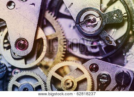 Постер, плакат: Clock Mechanism Made In The Technique Of Toning, холст на подрамнике
