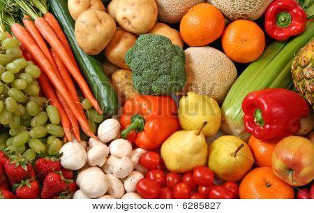 Постер, плакат: Фрукты и овощи, холст на подрамнике