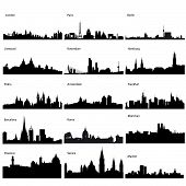 image of city silhouette  - Detailed black vector silhouettes of European cities - JPG