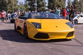 Yellow Lamborghini On Exhibition Parking At An Annual Event Supercar Sunday Lamborghini Day