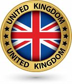 United Kingdom Gold Label With Flag, Vector Illustration