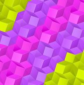 Abstract background with bright volume cubes