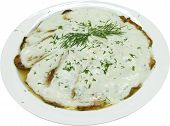 Baked Marrows With White Sauce, Rosemary And Herbs