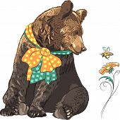 stock photo of pollen  - funny cartoon hipster bear with bow watching a bee flying over a bright flower - JPG