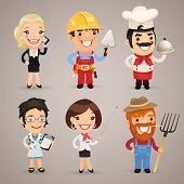 stock photo of cartoons  - Professions Cartoon Characters Set1 - JPG