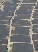 pic of pavestone  - Old grey stone pavement from bricks background - JPG