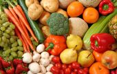 stock photo of fruits vegetables  - Background of fresh fruits and vegetables - JPG