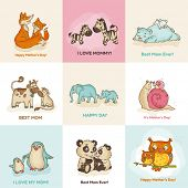Happy Mothers Day Cards - with cute animals - in vector poster